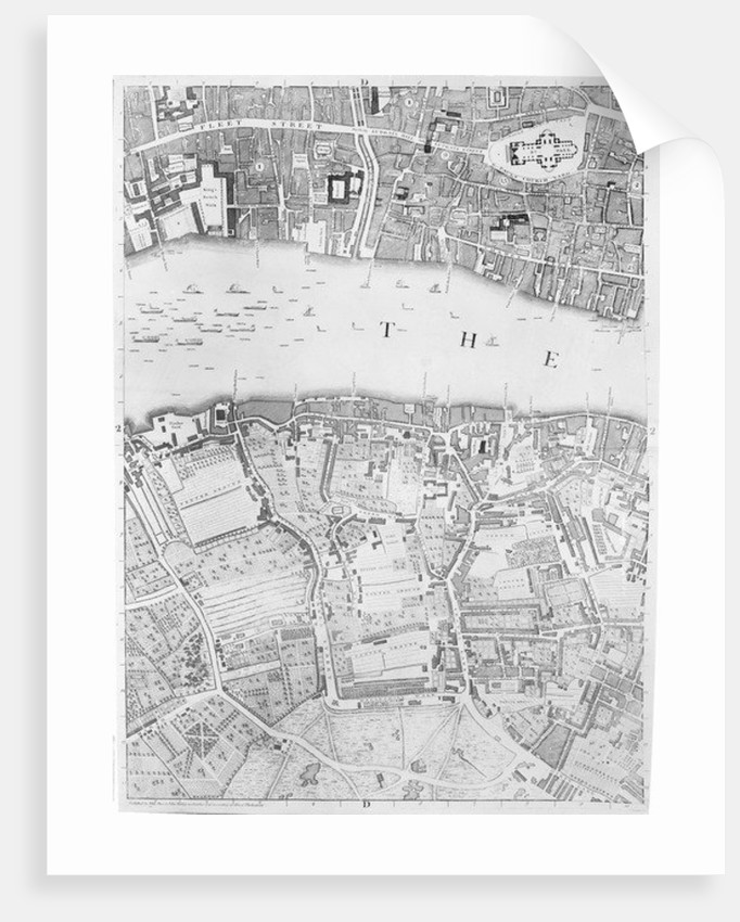 A Map of St Paul's and Bankside, London by John Rocque