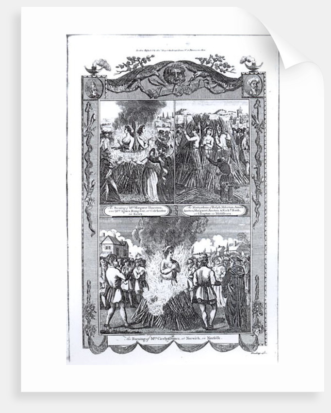 Men and women burned at the stake in 1557 by English School
