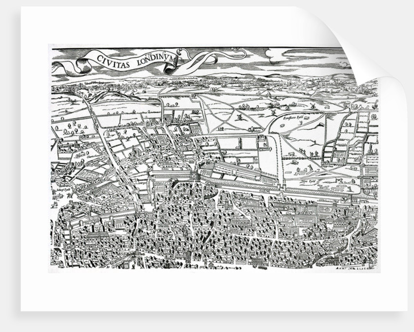 Detail of London North of the city from Civitas Londinium by Ralph Agas
