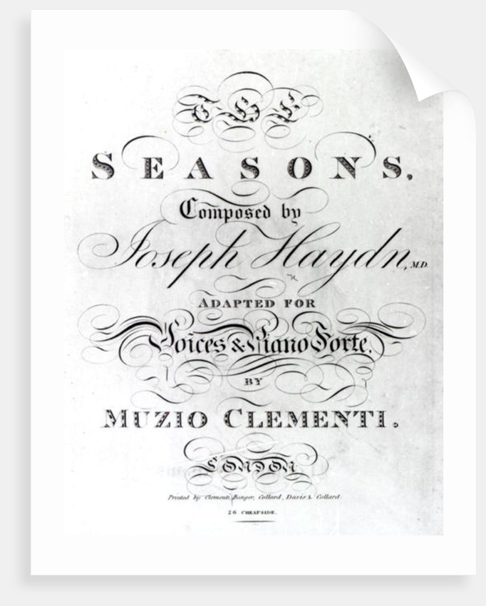 Cover of the score sheet of 'Seasons' by Joseph Haydn by English School