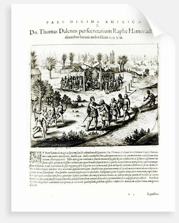 Ralph Hamor visits Powhatan by Theodore de Bry