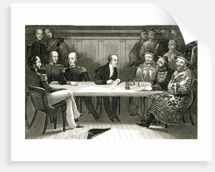 A conference at Chusan between Commodore Bremer and Chang, a Chinese official, on board the HMS Wellesley by German School