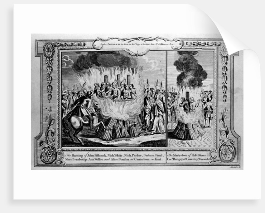 The Burning of John Fishcock and the martyrdom of Robert Glover by English School