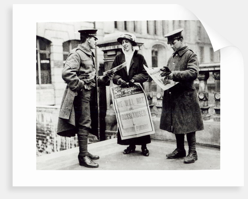 A Suffragette selling newspapers to two soldiers by English Photographer
