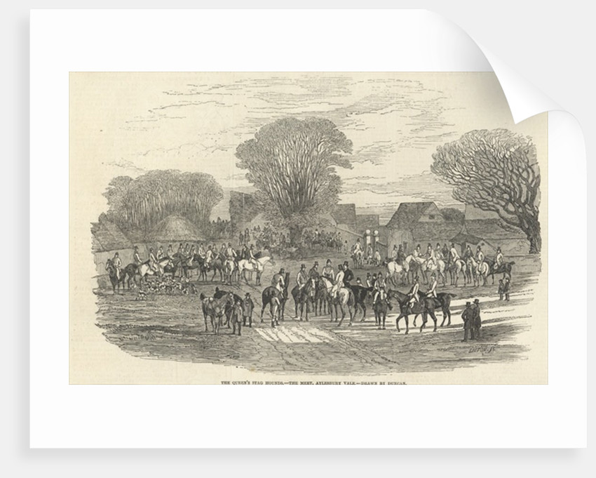 The Queen's Stag Hounds: The Meet, Aylesbury Vale by Edward Duncan