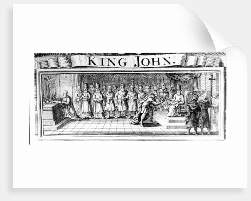 King John surrenders his crown to Pandulph Masca, Papal Legate, at Dover in May by English School
