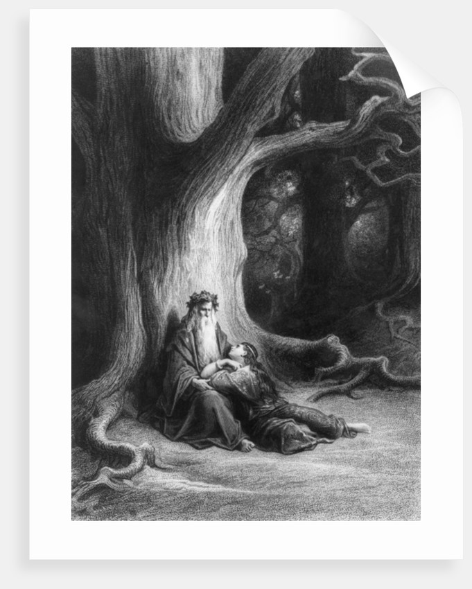The Enchanter Merlin and the Fairy Vivien in the forest of Broceliande by Gustave Dore