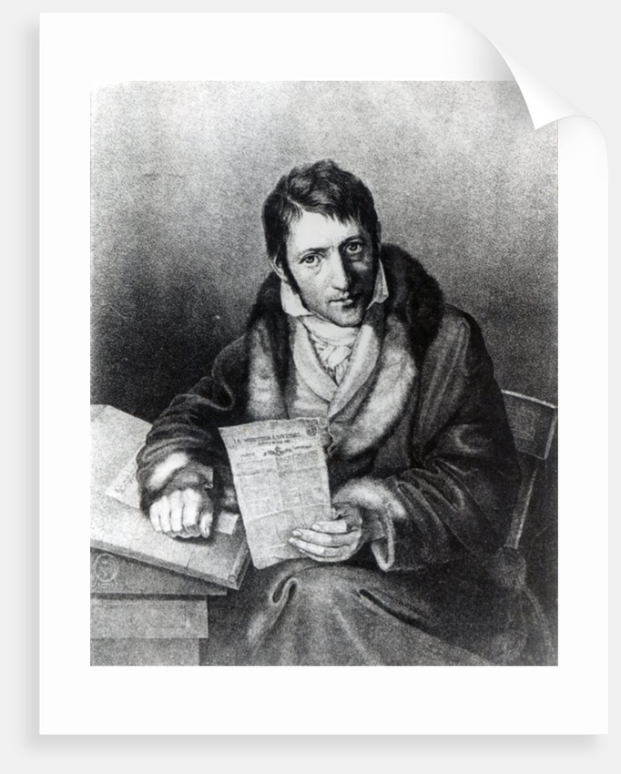 Charles-Joseph Panckoucke holding a copy of 'Le Moniteur Universel' by French School