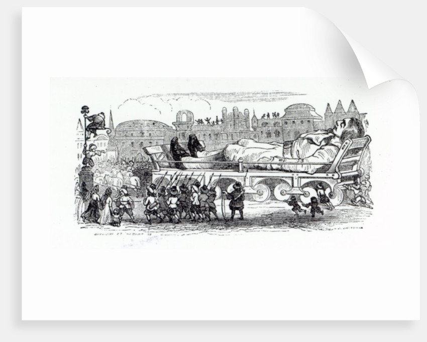 Gulliver being transported to the Lilliputian capital, an illustration from 'Gulliver's Travels' by Jonathan Swift by Grandville