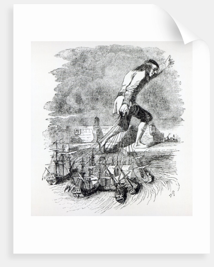 Gulliver stealing the Blefuscudian fleet by Grandville