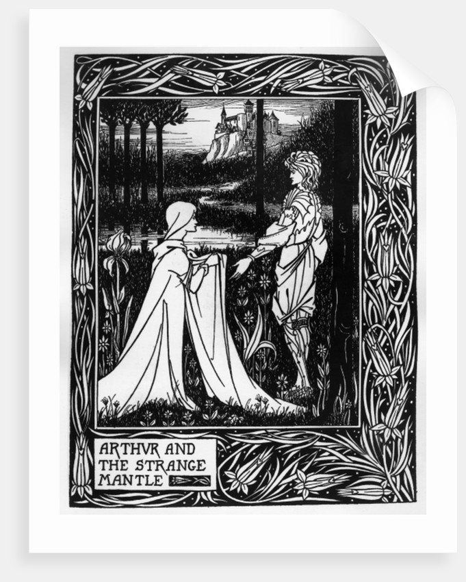 Arthur and the strange mantle, an illustration from 'Le Morte d'Arthur' by Sir Thomas Malory by Aubrey Beardsley