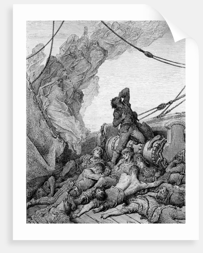 The Mariner, surrounded by the dead sailors, suffers anguish of spirit by Gustave Dore