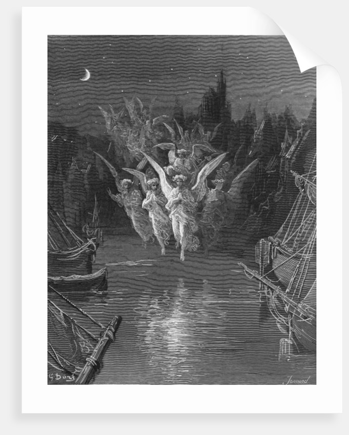 The angelic spirits leave the dead bodies and appear in their own forms of light, scene from 'The Rime of the Ancient Mariner' by S.T. Coleridge by Gustave Dore