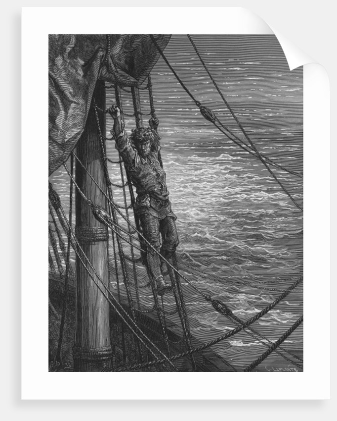 The Mariner describes to his listener, the wedding guest, his feelings of loneliness and desolation while on the ship by Gustave Dore