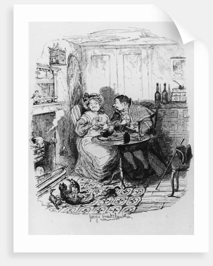 Mr Bumble and Mrs Corney taking tea by George Cruikshank