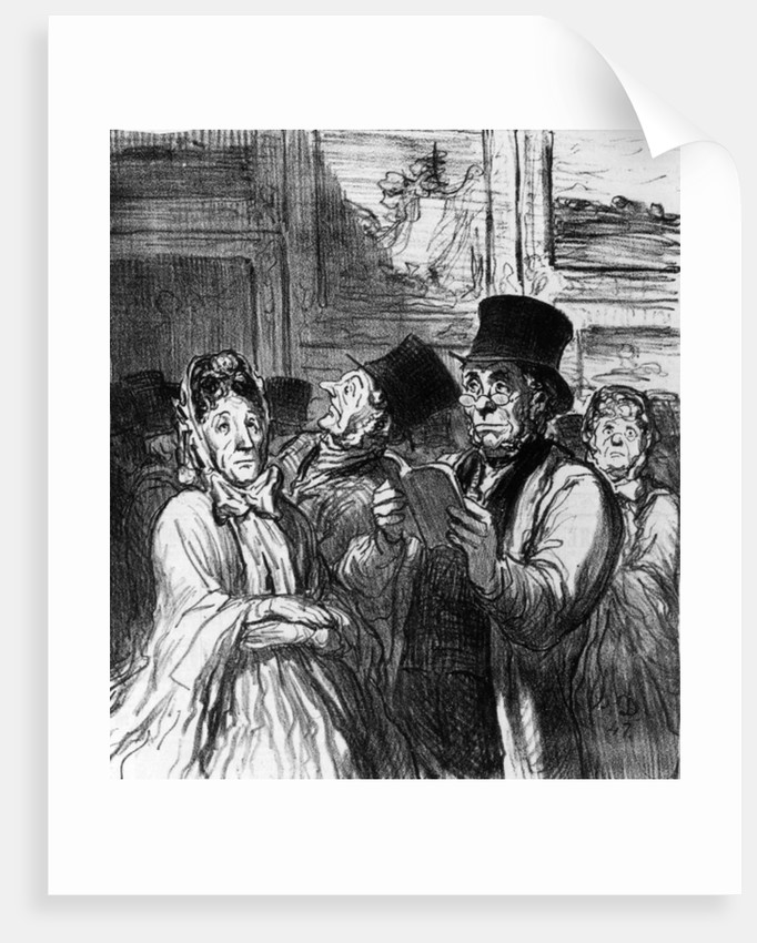 Caricature of visitors to an Art Exhibition before a painting by Gustave Moreau by Honore Daumier