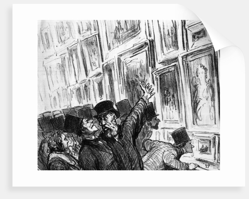 Artist being comforted at the 1859 Paris Salon over the position of his work in the exhibition by Honore Daumier