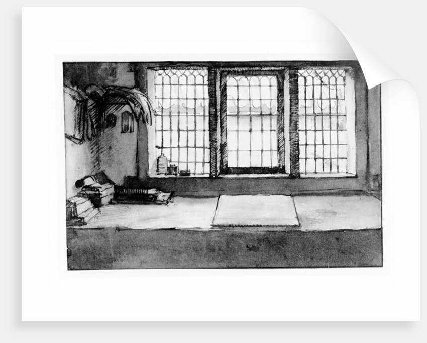 Artist's worktable at the window overlooking the river by Willem Drost