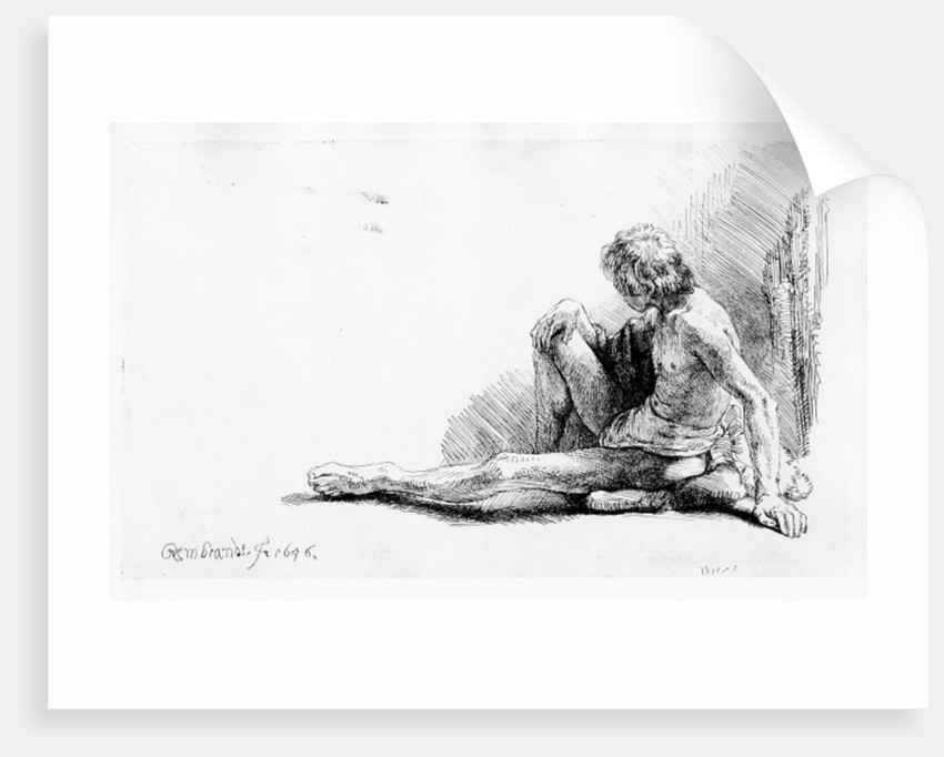 Man seated on the ground by Rembrandt Harmensz. van Rijn
