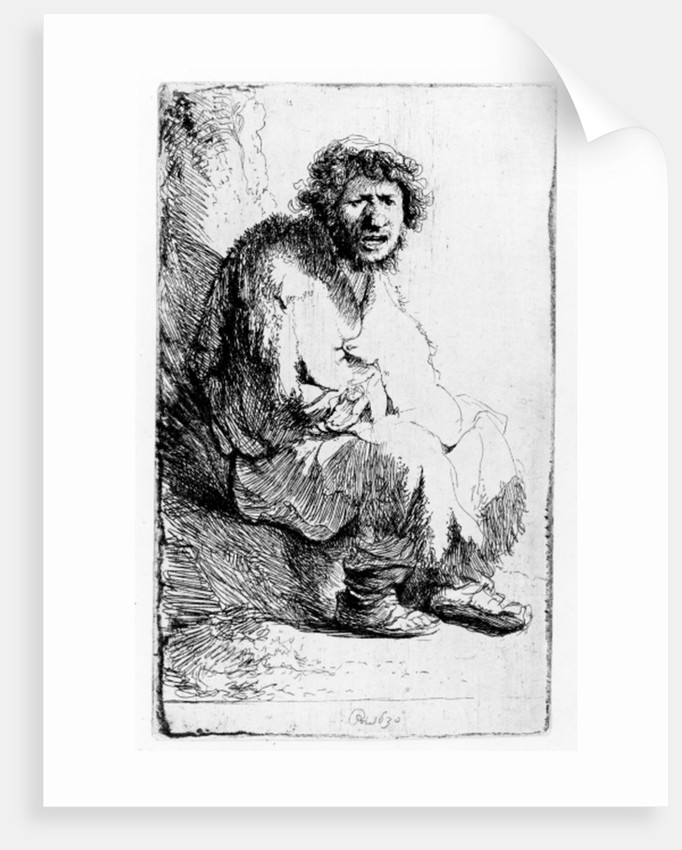 Beggar seated on a bank by Rembrandt Harmensz. van Rijn