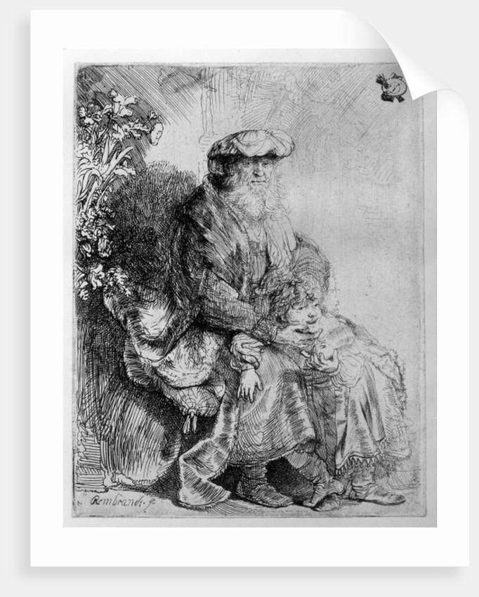 Abraham holding young Isaac by Rembrandt Harmensz. van Rijn