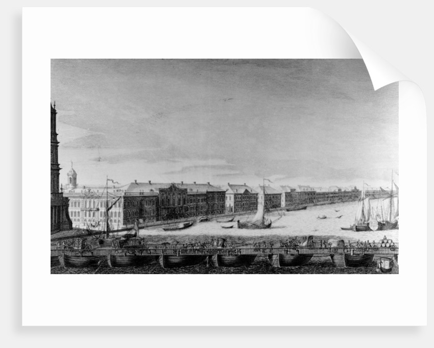 Saint Isaac's Pontoon Bridge across the River Neva by Russian School