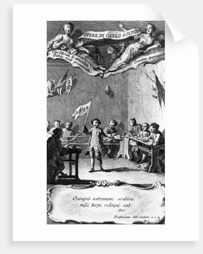 Carlo Goldoni waves a flag in celebration of passing his year at the Jesuit school in Perugia by Pietro Antonio Novelli