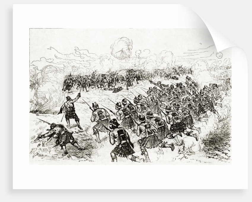 The Black Watch charging the intrenchments at the Battle of Tel el-Kebir by Melton Prior