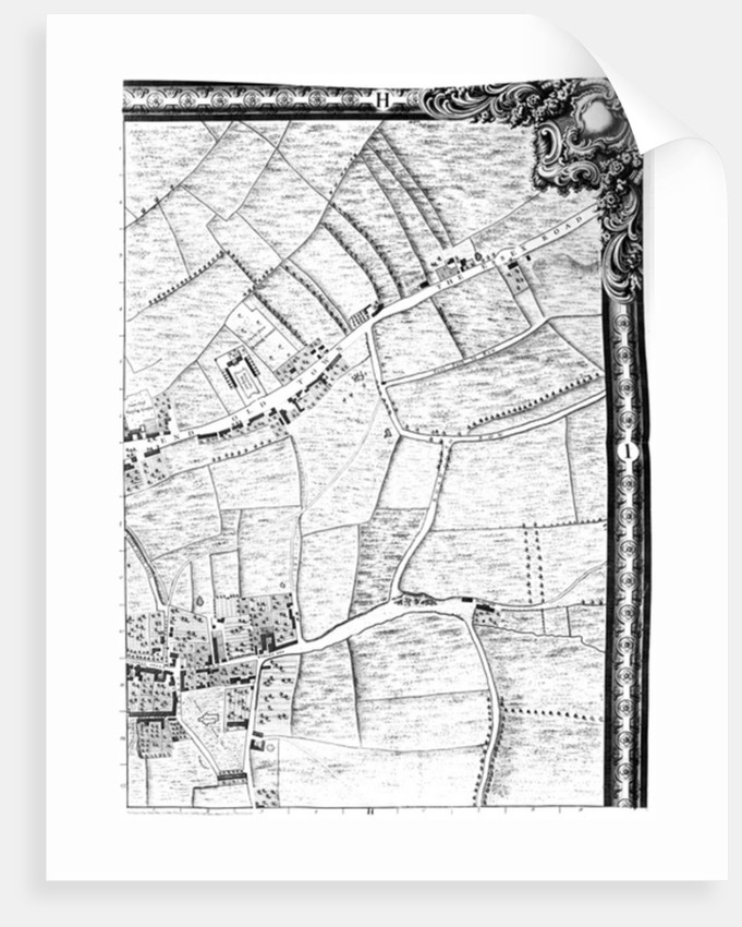 A Map of Mile End and Stepney Green, London by John Rocque
