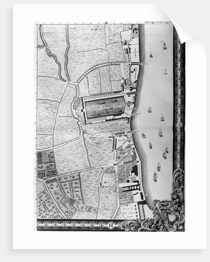 A Map of the Lower Rotherhithe Docks, London by John Rocque