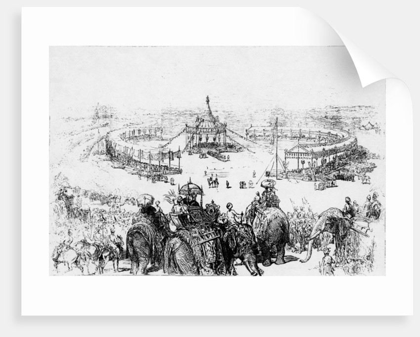 General bird's-eye view of the Imperial Durbar at Delhi by English School