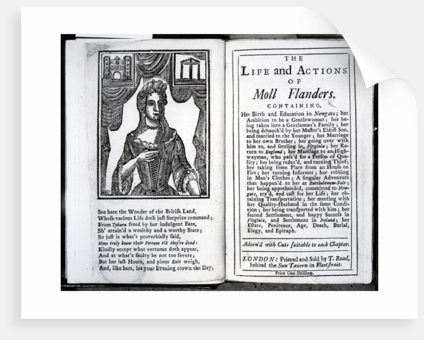 Frontispiece and Title page for 'The Life and Actions of Moll Flanders' by Daniel Defoe by English School