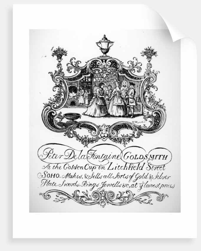 Trade Card for Peter De la Fontaine, Goldsmith by English School