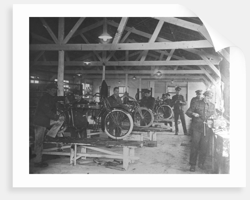 A WWI motorcycle repair shop by English Photographer