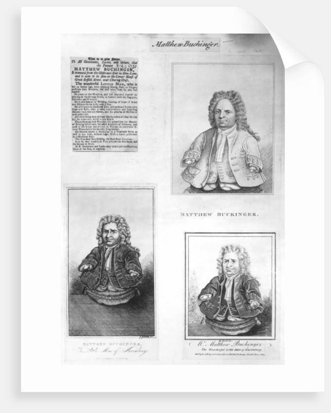A Collection of Cuttings about Matthew Buchinger by English School