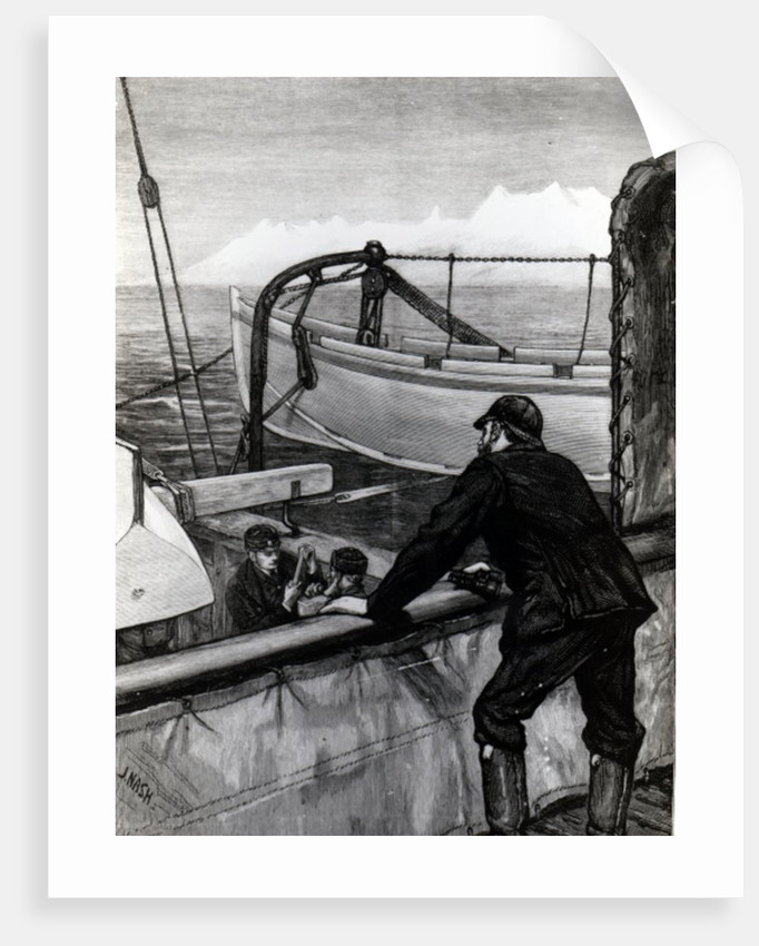 The Arctic Expedition - The 'Alert' near Holsteinborg, Greenland: Sternpost Cutter of Iceboat on Skids by Edward Lawton Moss