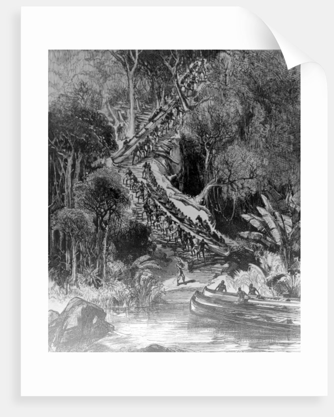 Hauling Canoes Up Inkisi Falls by Henry Morton Stanley
