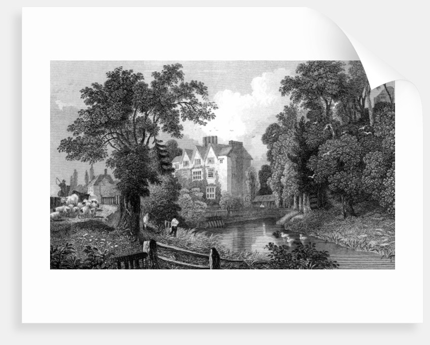 The Moat of Ongar Castle and Castle House, Essex by William Henry Bartlett