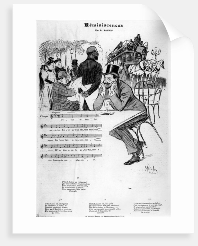 Sheet music for 'Reminiscences' by Leon Xanrof by Theophile Alexandre Steinlen