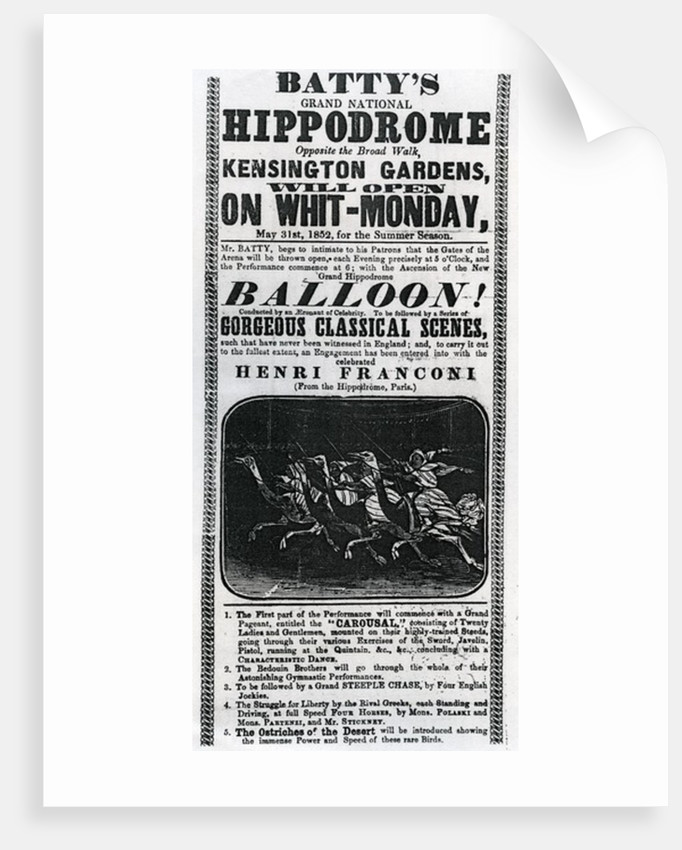 Poster advertising 'Batty's Grand National Hippodrome' by English School