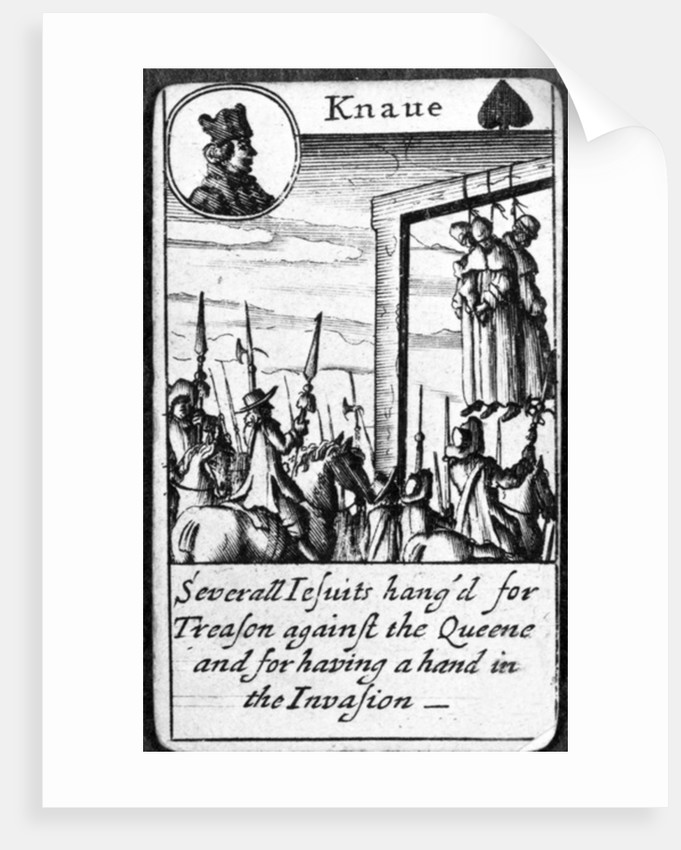 Several Jesuits hanged for Treason, Knave of Spades from a pack of playing cards by English School