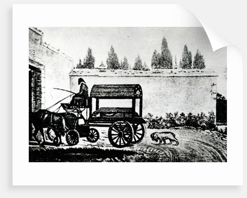 Mozart's coffin followed by a dog by Anonymous
