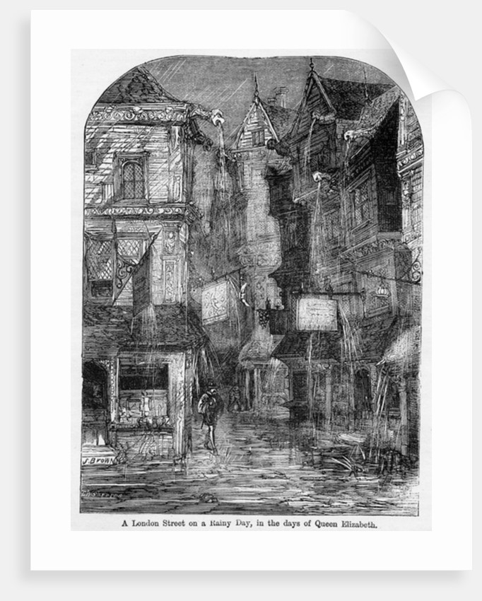 A London Street on a Rainy Day, in the days of Queen Elizabeth by English School