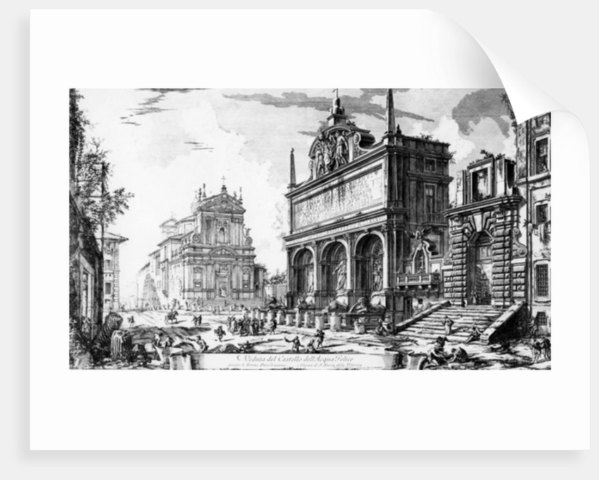 View of the Fontana dell'Acqua Felice with the Church of Santa Maria della Vittoria behind by Giovanni Battista Piranesi