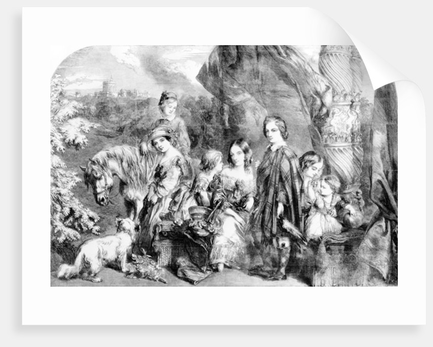 The Queen and Her Children at Windsor Great Park by English School