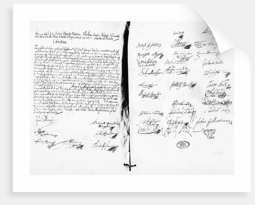 The Abdication Statement of Christina, Queen of Sweden by Swedish School