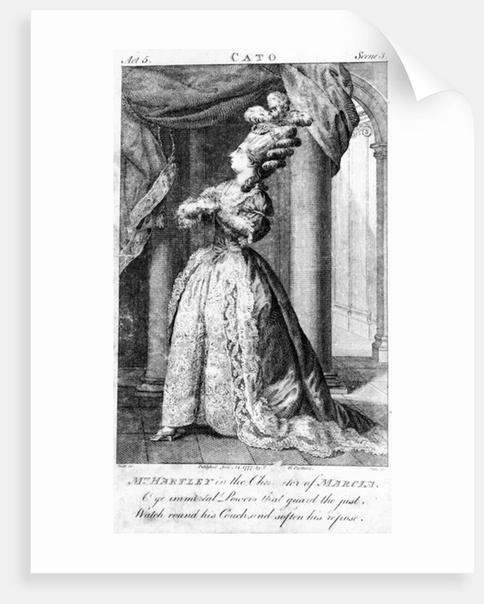 Mrs Hartley in the character of Marcia, by Dodd by English School
