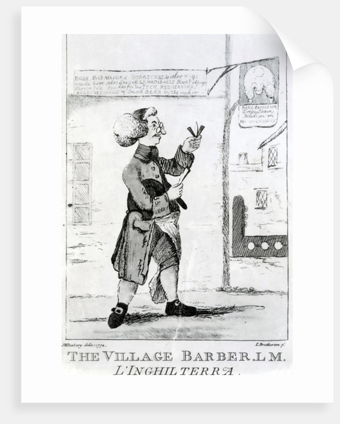 The Village Barber L. M. Inglaterra, engraved by James Bretherton by Henry William Bunbury