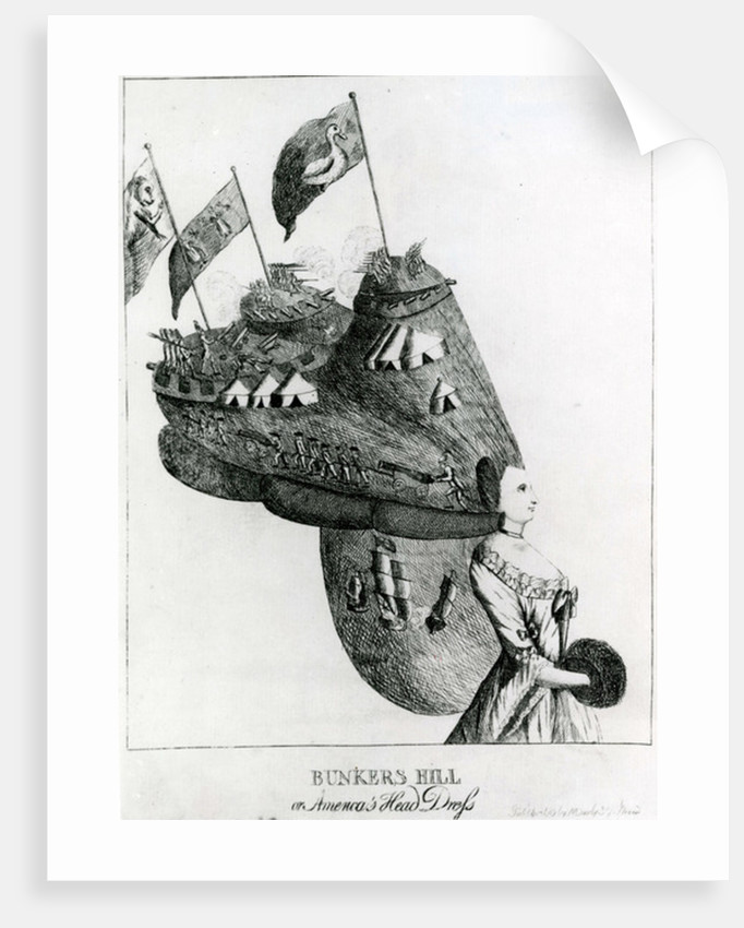Bunkers Hill, or America's Head Dress by English School