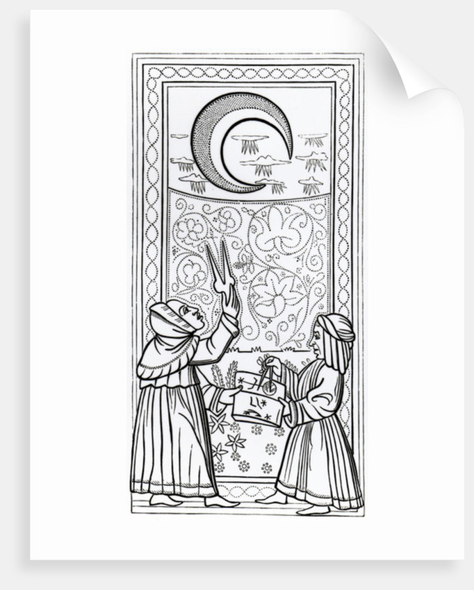 The Moon, tarot card by Anonymous